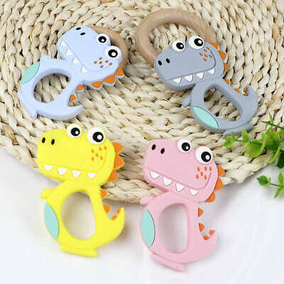 Dinosaur Kid Baby Teether Food Grade Silicone Soother Chewable Teething Toy