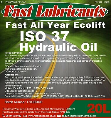 SHELL TELLUS 37 Equivalent Hydraulic Oil 5L ISO 37 Westway