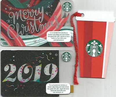 """AUSTRIA Starbucks cards NEW """"Merry Christmas - Cup - Year 2019 """" 2018 / set of 3"""