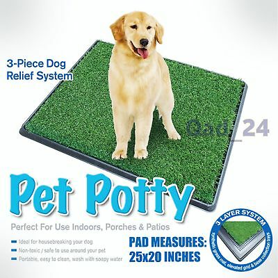 PET POTTY TRAY Indoor Dog Cat Grass Pad Mat Training Toilet Wee Loo Urine Large
