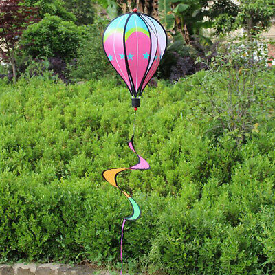 Windsock Striped Wind Spin Hot Air Balloon Colorful Garden Decor Or Toys