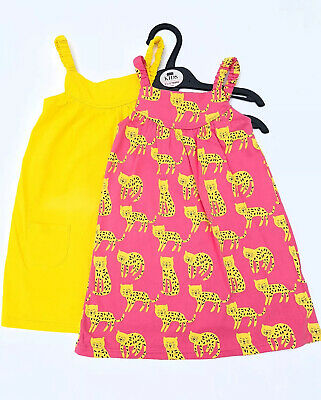 Girls Sun Dress 2 Pack Ex M&S Age 3 6 9 12 18 M 2 3 4 Years Pink Yellow RRP £18