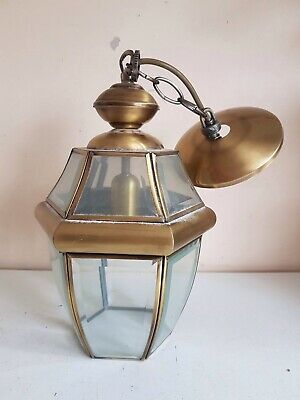 Large Brass Hanging Carriage Lantern Wall Light Sconce Lamp Bevelled Glass Home