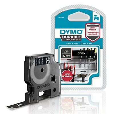 DYMO D1 Durable Labeling Tape for LabelManager Label Makers, White Print on Blac