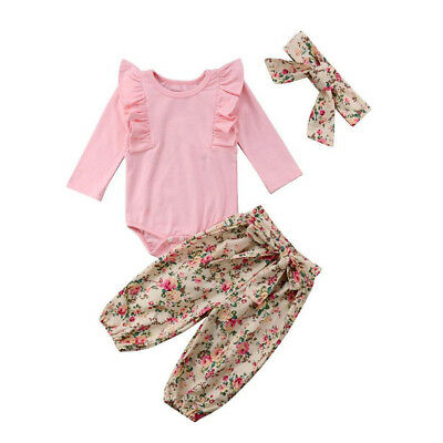 EG_ FT- 3Pcs/Set Baby Girls Ruffled Romper Flower Print Knotted Pants Headband S