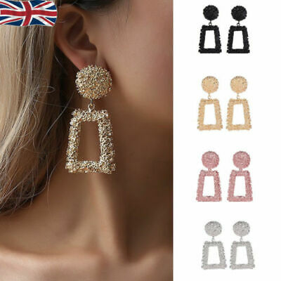 Fashion Punk Jewelry Geometric Dangle Drop Earrings Metal Statement Big Gold F