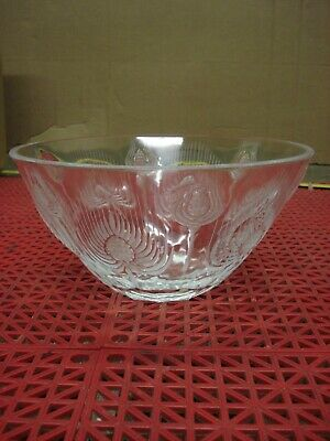 1970'S Lalique Thistle Bowl #13721 Balmoral Clear Frosted Large Bowl