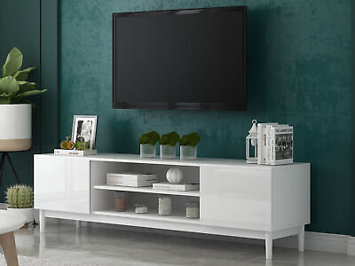 Modern Large Wooden White TV Stand Cabinet Home Storage Entertainment Center UK