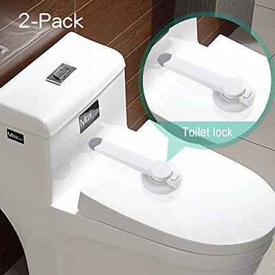 Baby Safety Toilet Locks - Baby Proof Toilet Lid Lock with Arm Adhesive Mount -