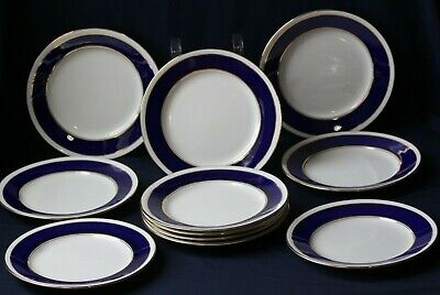 "11 Paragon English Bone China Cobalt Blue Gold Band 8"" Salad Plates"