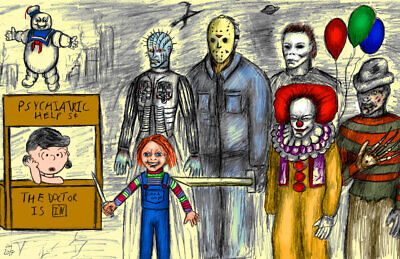 Lucy Charlie Brown Jason Pennywise Chucky Freddy 11 x 17 High Quality Poster