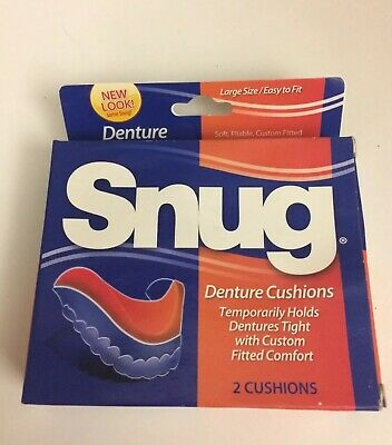 SNUG  Large Size Easy Fit Denture Cushions 1 box  With 2 cushions Box Damage See