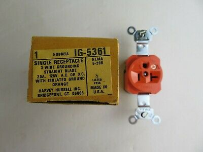 New Hubbell Ig-5361 Single Receptacle 3 Wire Grounding Straight Blade 20A 125V