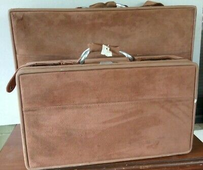 Large Brown Ultra Suede Hartmann Halston Suitcase Vintage  Leather Luggage pair