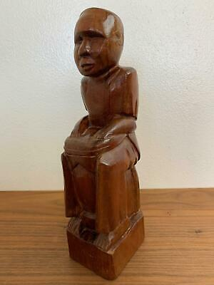 Hand Carved Wood Man With Bongo Drum Figure Wooden Carving Art Sculpture