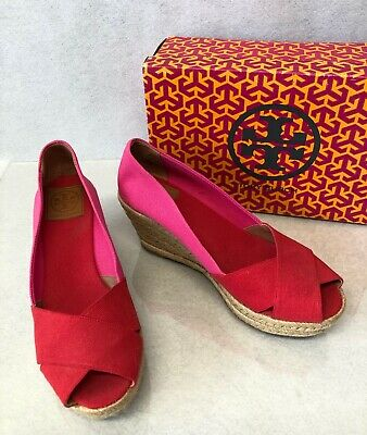 413442824ce TORY BURCH FILIPA Color Block Espadrille Wedge Women's size 10 red/pink