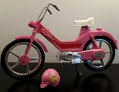 Barbie Doll Vintage 1980s Motorbike Pink Motorcycle Moped Scooter Bike & Helmet