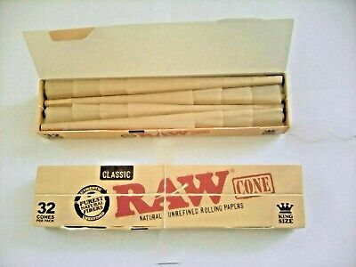Box Of 32 Raw King Size Cones. Pre- Rolled Cones In Small Box For Smoking Rizla.