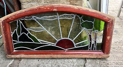 A Nice Modern Stained Glass Window In Mahogany Frame Slight Damage To Glass