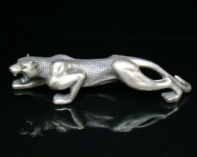 250mm Collectible Handmade Carved Statue Leopard Copper Silver Deco Art