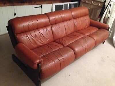 Mid Century Retro Danish Tan Brown Leather 3 Seat Sofa Settee 1970s