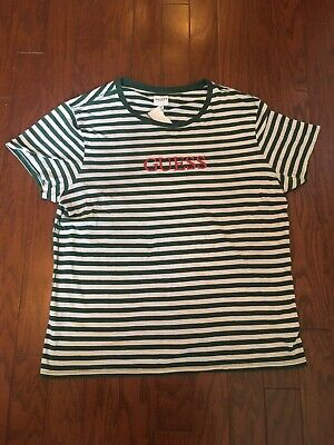 2a6a53c08d5b Guess Los Angeles Striped T-Shirt Green White Men's Medium Embroidered  Spell Out