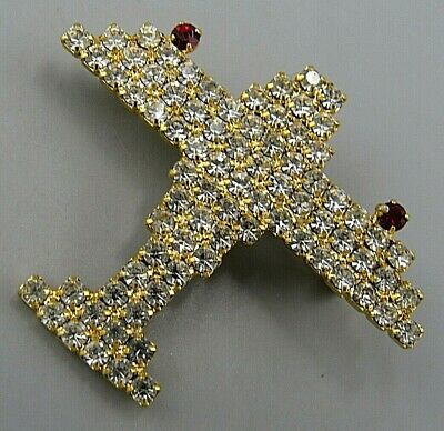 Vintage Jewelry Faceted Prong Set Airplane BROOCH PIN Rhinestone Lot A