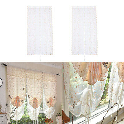 2pcs Romantic Butterfly Voile Valance Balloon Curtain Roman Shades, 80x150cm