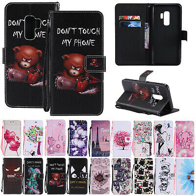 For Samsung Galaxy A70 A40 Case Patterned Leather Flip Magnetic Card Slot Cover