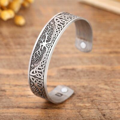 Skyrim Ankle Bracelet Life Tree Engraved Jewelry Viking Cuff Bangle Silver