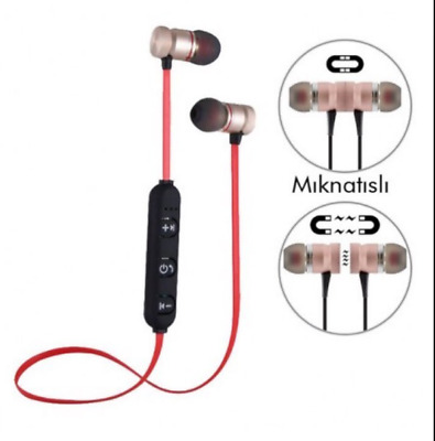 Sports Wireless Bluetooth Ear phones Magnet Microphone Headphone Headset RED