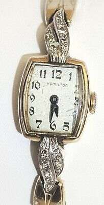 Gorgeous Vintage Ladies Hamilton Watch in 14K Gold With 16 Diamond Accents, Runs