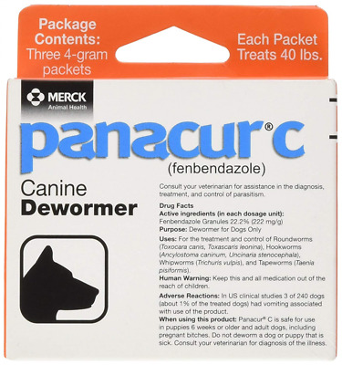 4g each - 3 Packets Panacur C Canine Dewormer 3 Packets up to 40Lb for Dogs