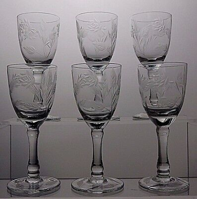 Lovely Vintage Cut Glass Crystal Etched Sherry Glasses Set Of 6