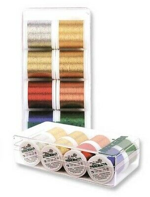 Madeira 8012 | Asstd Metallic Classic Shades Machine Embroidery Thread 200m x 8
