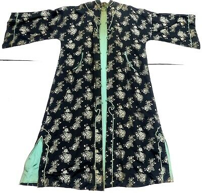 """Old long Chinese silk robe jacket 60"""" L"""
