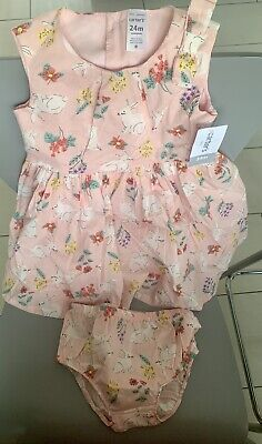 ed3c5fa39 NWT CARTER'S PINK floral belted dress baby girl 18 m free ship USA ...