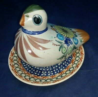 Mexican Tonala Pottery Bird Dove Pigeon Folk Art Clay Cat Signed with plate
