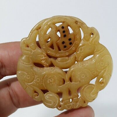 Chinese Exquisite jade Carved pendant statue N170