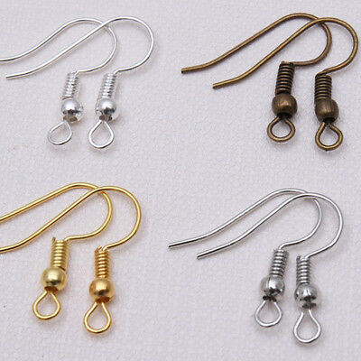 DIY 100PCS Wholesale Jewelry Making Findings Earring Hook Coil 5 Colors
