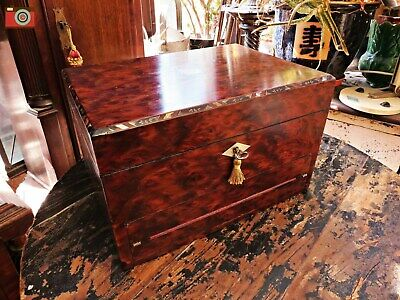 An Incredible Victorian Jewellery Work Box With Writing Slope Drawer. Ultra Rare