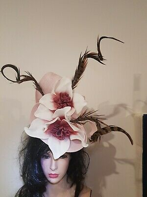 Fascinator hatinator hat races wedding costume formal pink - one off