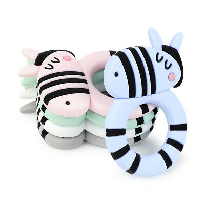 Zebra Infant Baby Teether Food Grade Silicone Soother Chewable Teething Toy