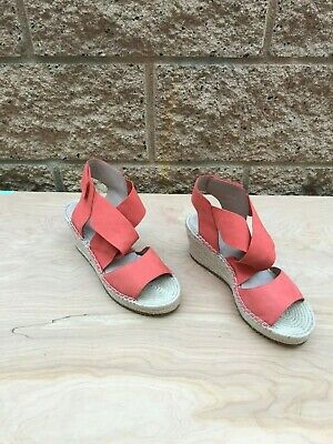d473861614b EILEEN FISHER WILLOW Espadrille Wedge Leather Sandals, Persimmon Orange,  Size 8