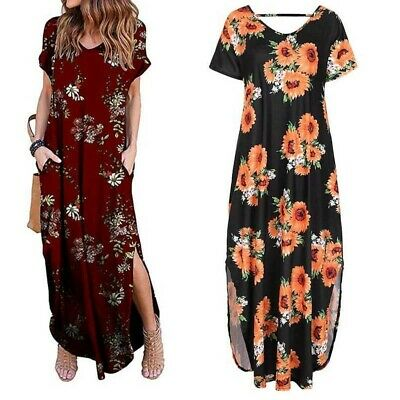 Womens Maxi Dress Casual Summer Holiday Printed Loose Long Short Sleeve Sundress