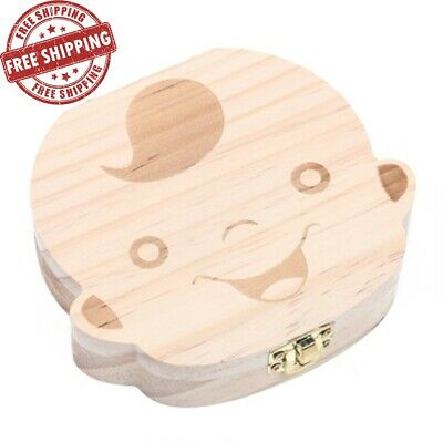 Hot! Baby Teeth Save Boxes Wooden Deciduous Souvenir Box Child Tooth Keepsake