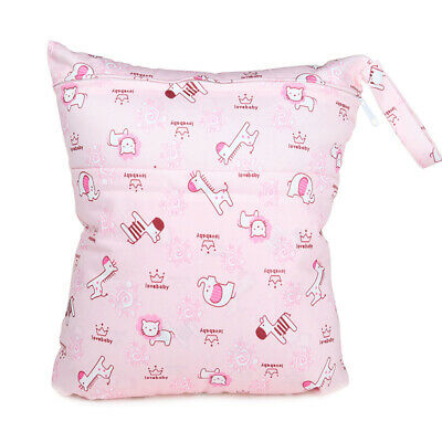 Wet Bag Baby Cloth Diaper Nappy Bag Double Zippers Pocket Pink Animal Elephant
