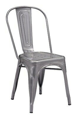 2pcs Industrial Antique Vintage Accent Dining Chair, Gunmetal, Silver Steel 2498