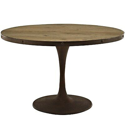 Industrial Distressed Style Antique Vintage Round Dining Table, Metal Wood 10029
