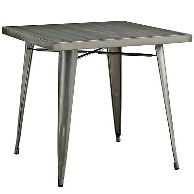 Modern Industrial Antique Vintage Square Dining Table, Silver, Metal, 10089